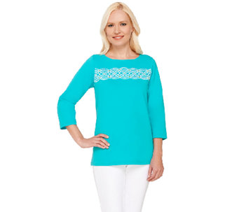 Bob Mackie's 3/4 Sleeve Knit Top with Embroidery Detail - A266370