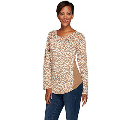 Denim & Co. Animal Printed Raglan Sleeve Scoop Neck Top