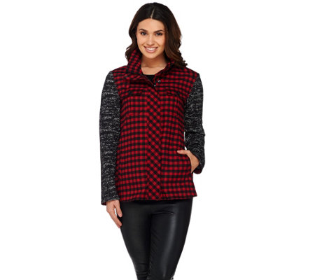 LOGO by Lori Goldstein Plaid Jacket with Sweater Knit Sleeves