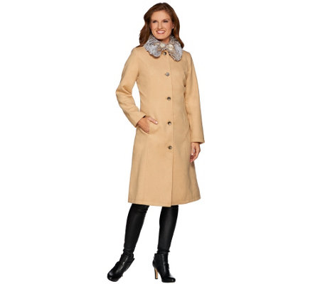 Isaac Mizrahi Live! Full Length Coat w/ Faux Fur Collar