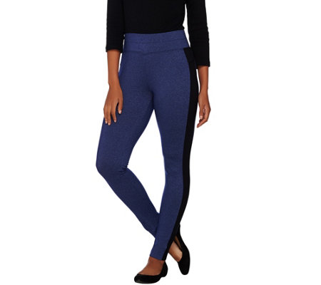 LOGO Lotus by Lori Goldstein Melange Knit Pants with Side Stripes