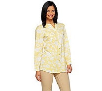 Denim & Co. Floral Printed Y-neck Button Front Tunic - A273070