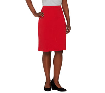 """As Is"" Susan Graver Weekend French Terry Comfort Waist Slim Skirt - A273170"