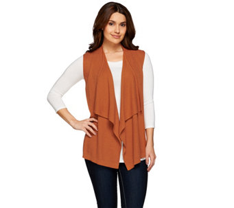 LOGO by Lori Goldstein Cascade Open Front Sweater Vest - A273370