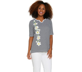 Quacker Factory Daffodil Stripe Elbow Sleeve Split V-neck T-shirt - A273870