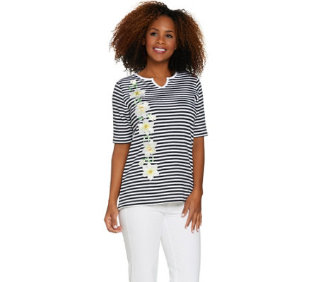 Quacker Factory Daffodil Stripe Elbow Sleeve Split V-neck T-shirt