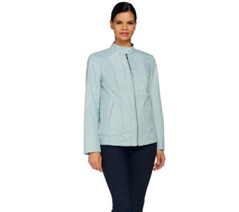 Susan Graver Faux Suede Zip Front Jacket with Pockets - A274570