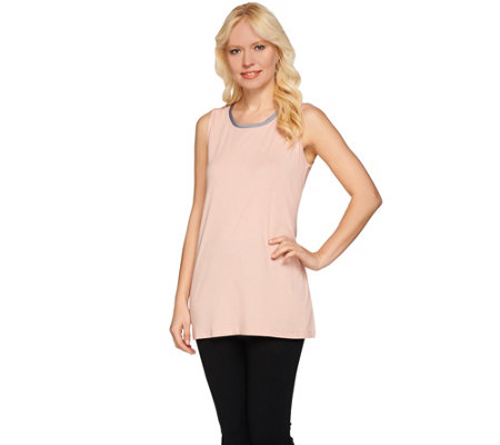 LOGO by Lori Goldstein Knit Tank with Contrast Neck Trim