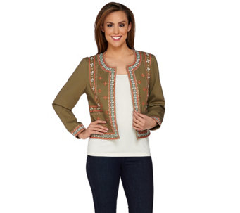 Studio By Denim & Co. Long Sleeve Embroidered Jacket - A275270