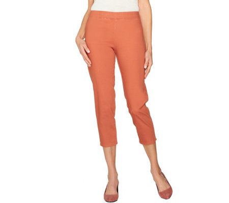 LOGO by Lori Goldstein Pull-On Knit Twill Crop Pants