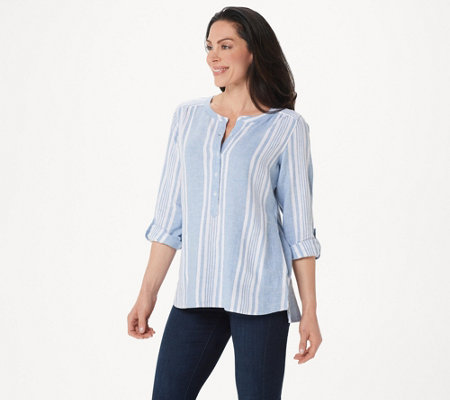 Denim & Co. Striped Yarn Dyed Woven Top