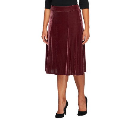 """As Is"" Quacker Factory Velvet Pull-on A-line Skirt"