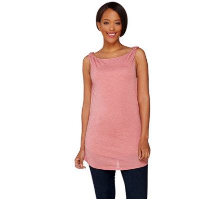 H by Halston Sleeveless Knit Top with Twist Shoulder Detail