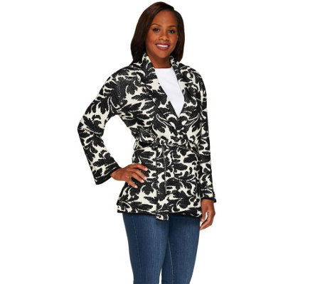 """As Is"" Isaac Mizrahi Live! Shawl Collar Scroll Damask Belted Cardigan"