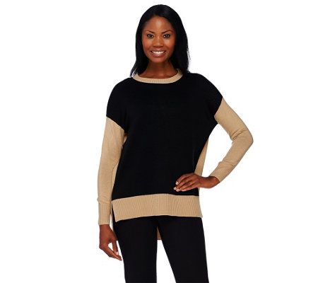 """As Is"" Susan Graver Plush Knit Long Sleeve Color- Block Sweater"