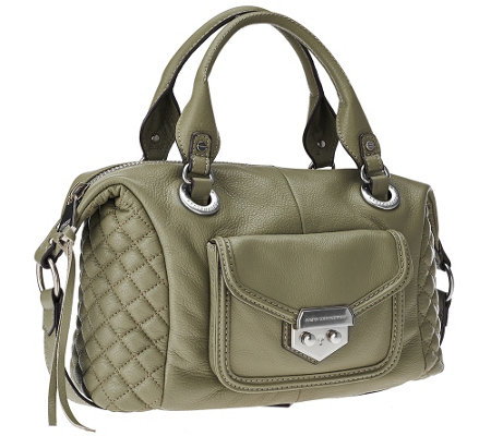 """As Is"" Aimee Kestenberg Pebble Leather Quilted Satchel - Zoe"