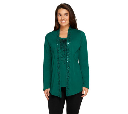 """As Is"" Quacker Factory Long Sleeve Duet with Sparkling Sequin"