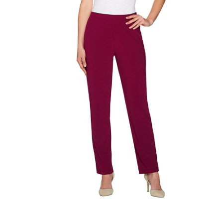 Susan Graver Textured Liquid Knit Straight Leg Pull-On Pants