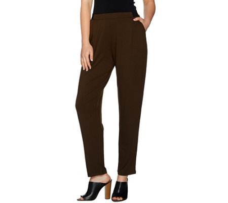 H by Halston Pull-On Knit Ankle Pants with Pockets
