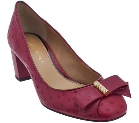 """As Is"" Judith Ripka Ostrich Texture Leather Heels w/ Bow Detail - Olivia"