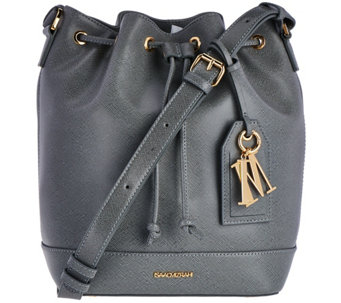 Isaac Mizrahi Live! Signature Saffiano Leather Bucket Handbag - A280970