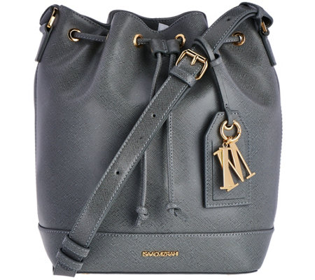Isaac Mizrahi Live! Signature Saffiano Leather Bucket Handbag