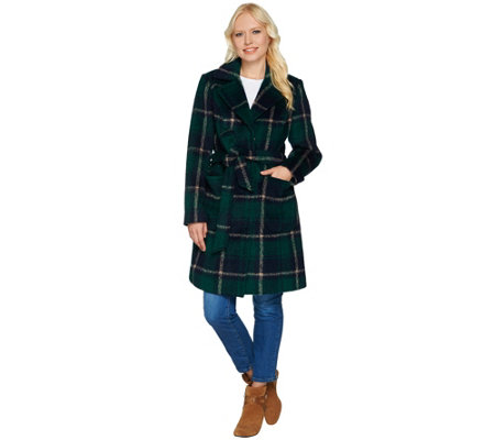 Isaac Mizrahi Live! Brushed Plaid Snap Front Coat with Belt