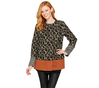 LOGO by Lori Goldstein Animal Jacquard Coat with Snap Closures - A282170