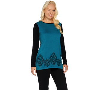Bob Mackie's Rib Sleeve Embroidered Hem Sweater - A282270