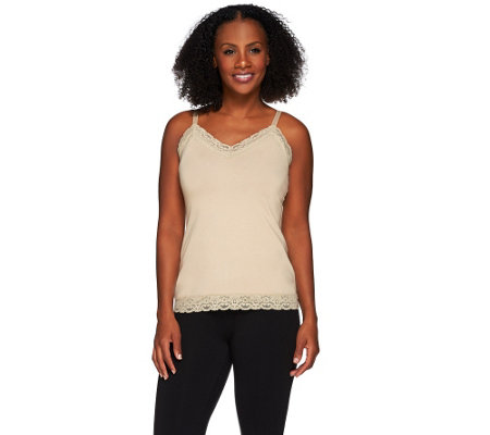 """As Is"" Susan Graver Essentials Stretch Cotton Camisole w/Lace"