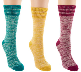MUK LUKS Set of 3 Pairs Faux Wool Camp Socks - A283270