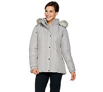 Susan Graver Quilted Jacket with Removable Faux Fur Trimmed Hood - A284170
