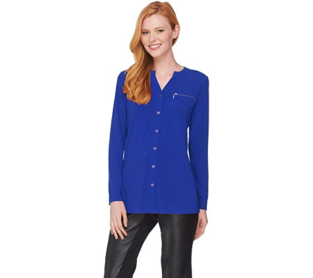 Susan Graver Textured Liquid Knit Shirt with Zipper Pockets