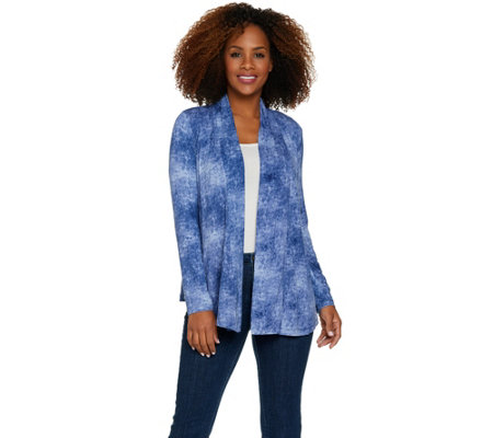 LOGO Layers by Lori Goldstein Distressed Print Knit Cardigan