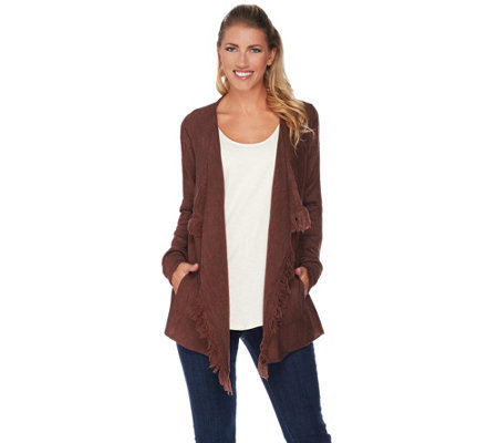 Lisa Rinna Collection Open Front Fringe Cardigan with Pockets