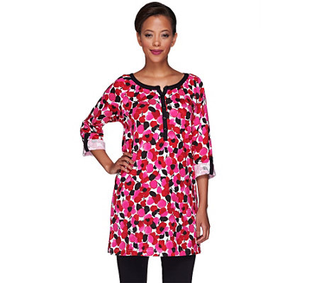"""As Is"" Carole Hochman Peonies Tunic and Leggings Lounge Set"