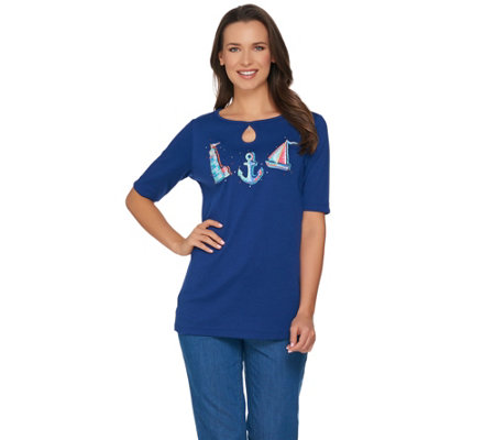 Quacker Factory Endless Summer Elbow Sleeve Keyhole T-shirt with Charm