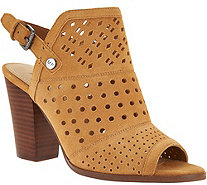 Marc Fisher Perforated Suede Peep Toe Booties - Casha - A287470
