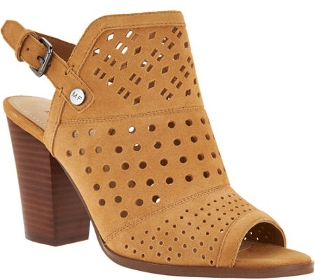 Marc Fisher Perforated Suede Peep Toe Booties - Casha