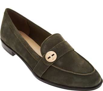 """As Is"" Isaac Mizrahi Live! Suede Loafers with Turn Lock Detail - A290370"