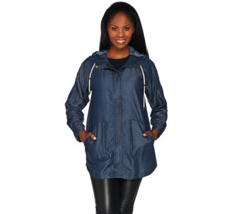 """As Is"" Isaac Mizrahi Live! True Denim Hooded Jacket w / Patch Pockets - A291170"