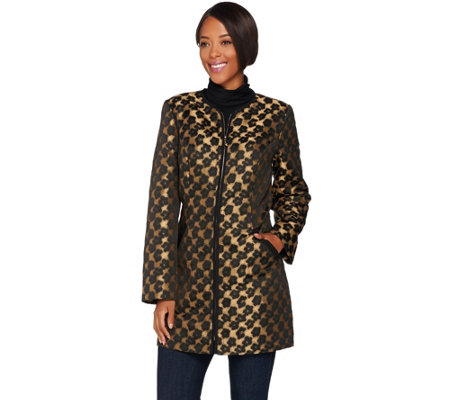 """As Is"" Dennis Basso Leopard Jacquard Long Jacket"