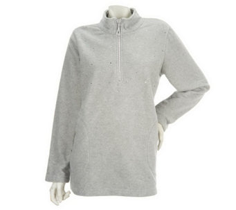 """As Is"" Quacker Factory 1/2 Zip Fleece Pullover with Rhinestones - A292170"