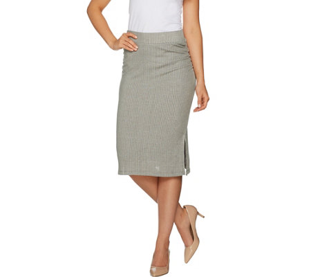 Lisa Rinna Collection Rib Knit Midi Skirt with Ruched Detail