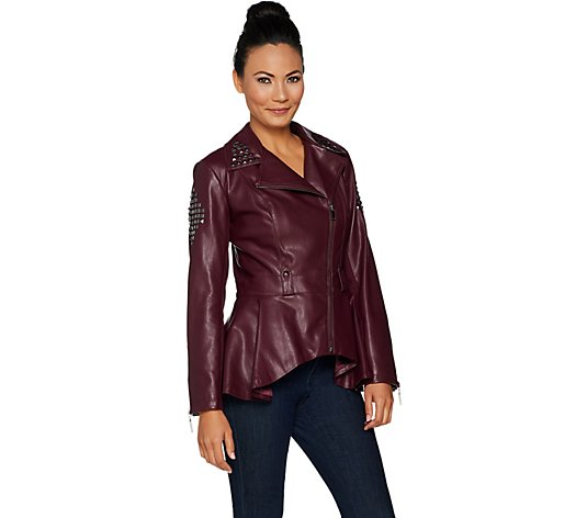 O/&A COUTURE Womens Fashion Burgundy Fitted Leather Jacket