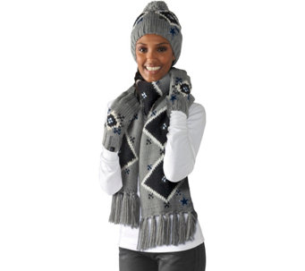 """As Is"" NFL Dallas Touch by Alyssa Milano Hat, Scarf and Glove Set - A293670"