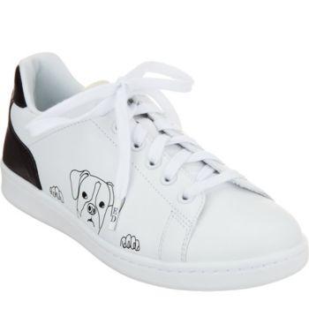 ED Ellen DeGeneres Leather Graphic Sneakers - Chapanima