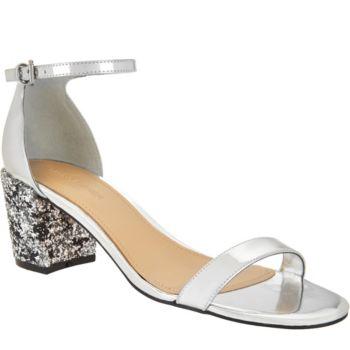 Marc Fisher Glitter and Patent Block Heel Sandals - Safia
