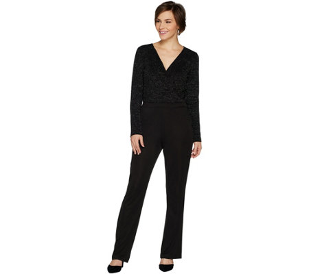Lisa Rinna Collection Long Sleeve V Neck Jumpsuit