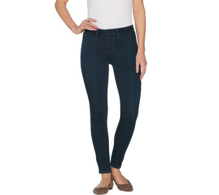 Laurie Felt Silky Denim Pull On Overdyed Skinny Jeans